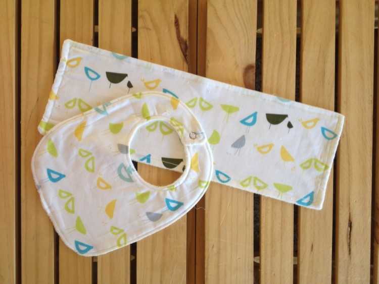 Organic Bib & Burp Cloth Set Blue