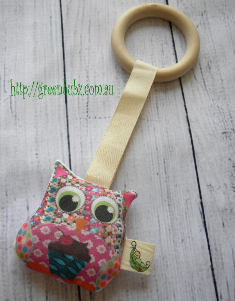 Organic Owl Teething Ring Girl