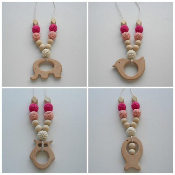 Wooden Breastfeeding Teething Nursing Necklace Pink