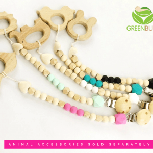 Dummy Chain Wooden Silicone animal Eco friendly
