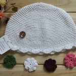 Organic Crochet Girls Flower Beanie Hat 2