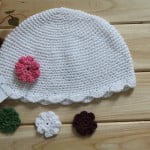 Organic Crochet Girls Flower Beanie Hat 1
