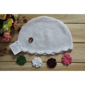 Organic Crochet Girls Flower Beanie Hat 4