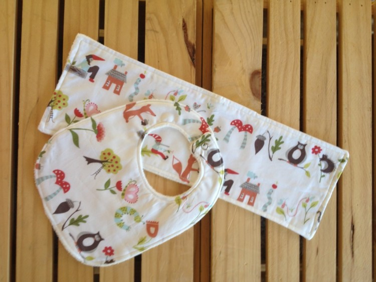 Organic Bib & Burp Cloth Set Forest
