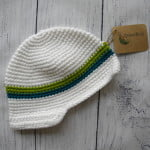 Boys White Crochet Beanie