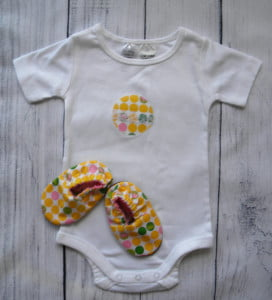 Yellow Elephant Onesie Shoe Set