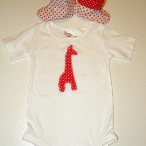 Giraffe Red baby Shoes Boots Onesie