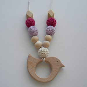 Wooden Breastfeeding Teething Nursing Necklace Purple