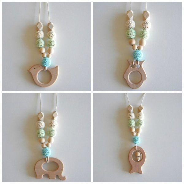 Wooden Breastfeeding Teething Nursing Necklace Blue