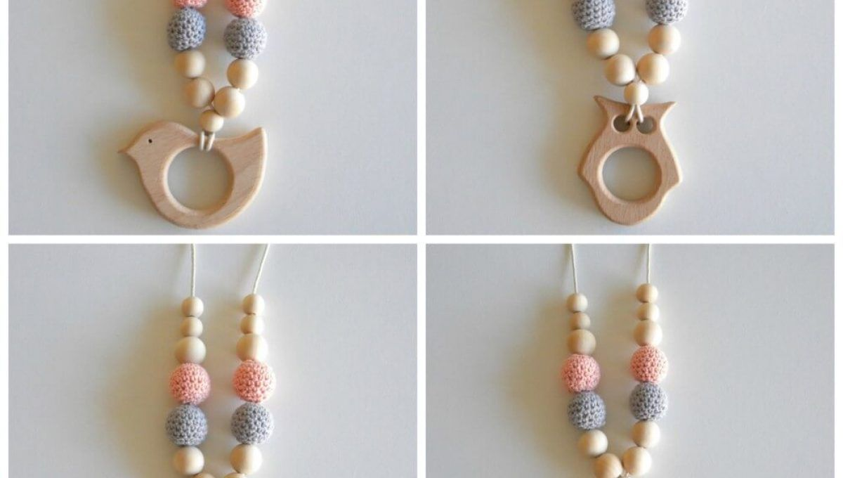Wooden Breastfeeding Teething Nursing Necklace Grey
