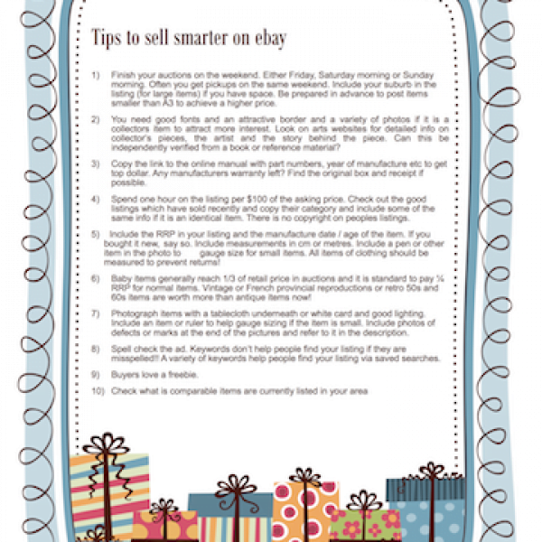 FREE PRINTABLE: Tips to sell smarter on ebay